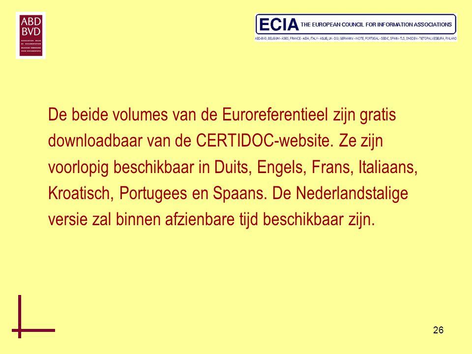 De beide volumes van de Euroreferentieel zijn gratis downloadbaar van de CERTIDOC-website.