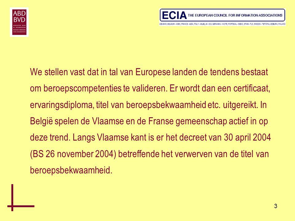 We stellen vast dat in tal van Europese landen de tendens bestaat om beroepscompetenties te valideren.