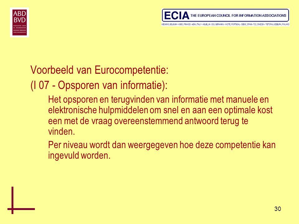 Voorbeeld van Eurocompetentie: (I 07 - Opsporen van informatie):