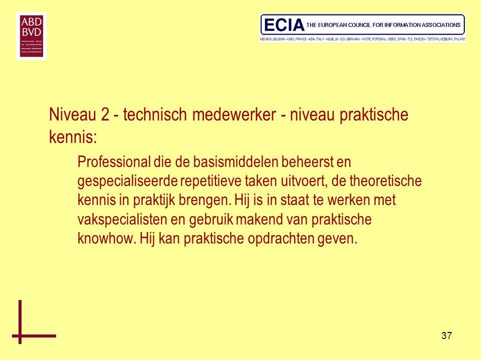 Niveau 2 - technisch medewerker - niveau praktische kennis: