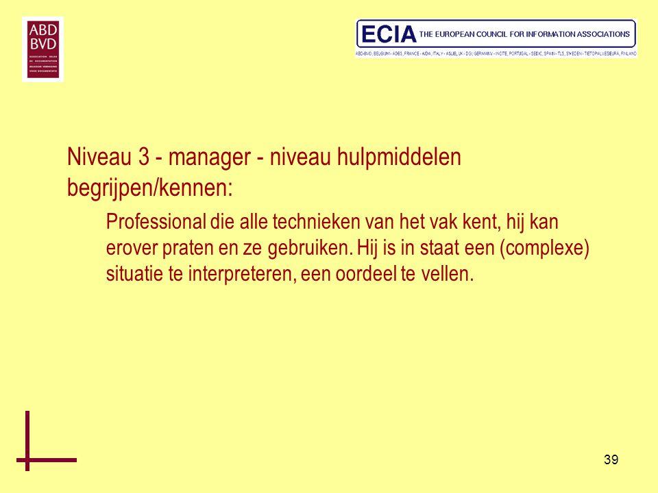 Niveau 3 - manager - niveau hulpmiddelen begrijpen/kennen: