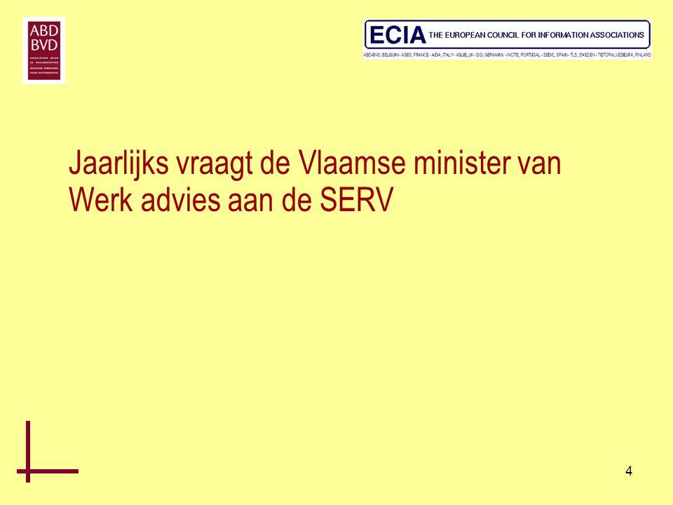 Jaarlijks vraagt de Vlaamse minister van Werk advies aan de SERV