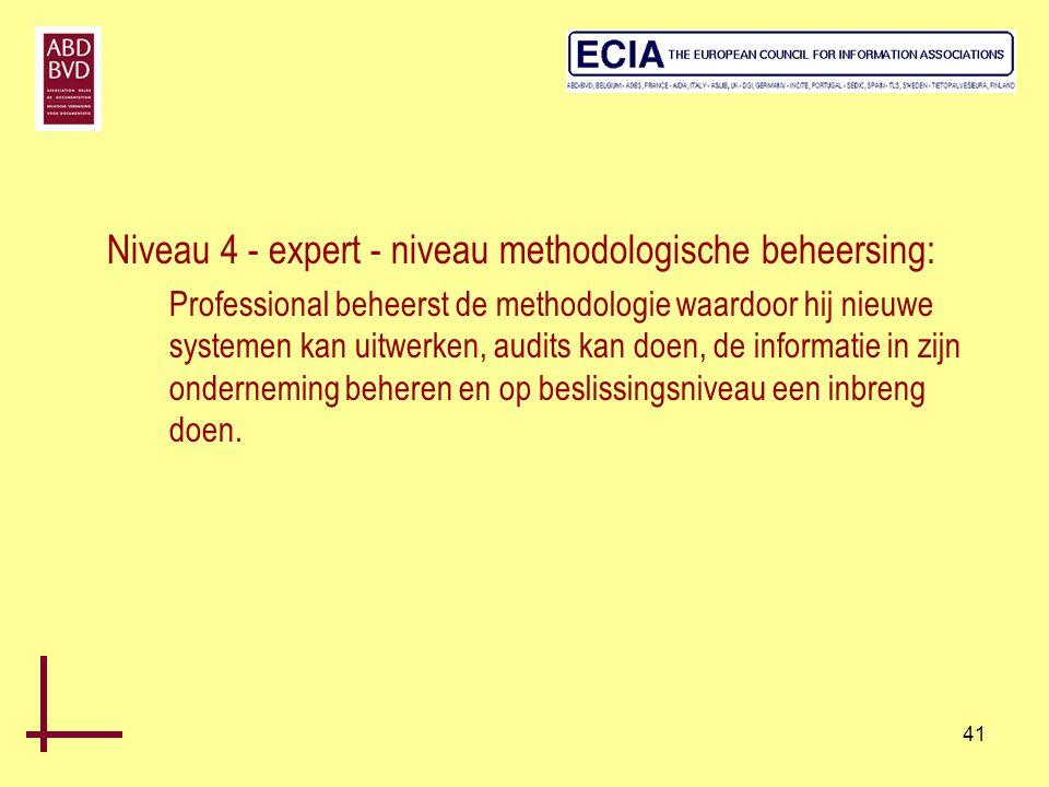 Niveau 4 - expert - niveau methodologische beheersing: