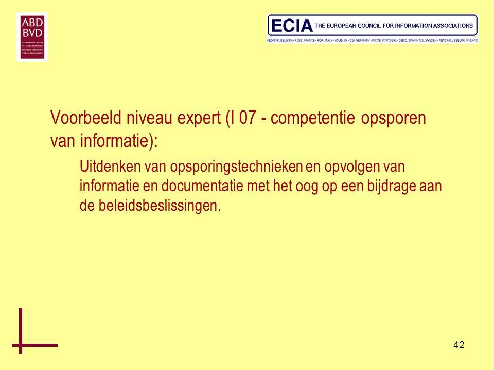 Voorbeeld niveau expert (I 07 - competentie opsporen van informatie):