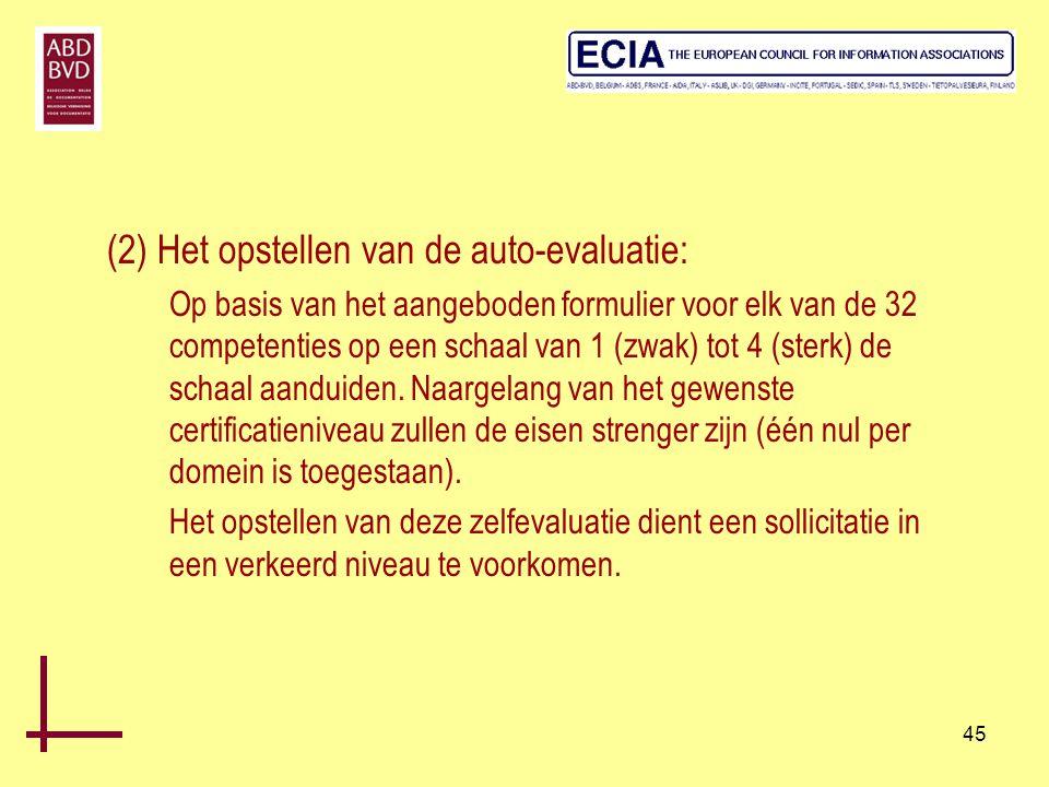 (2) Het opstellen van de auto-evaluatie:
