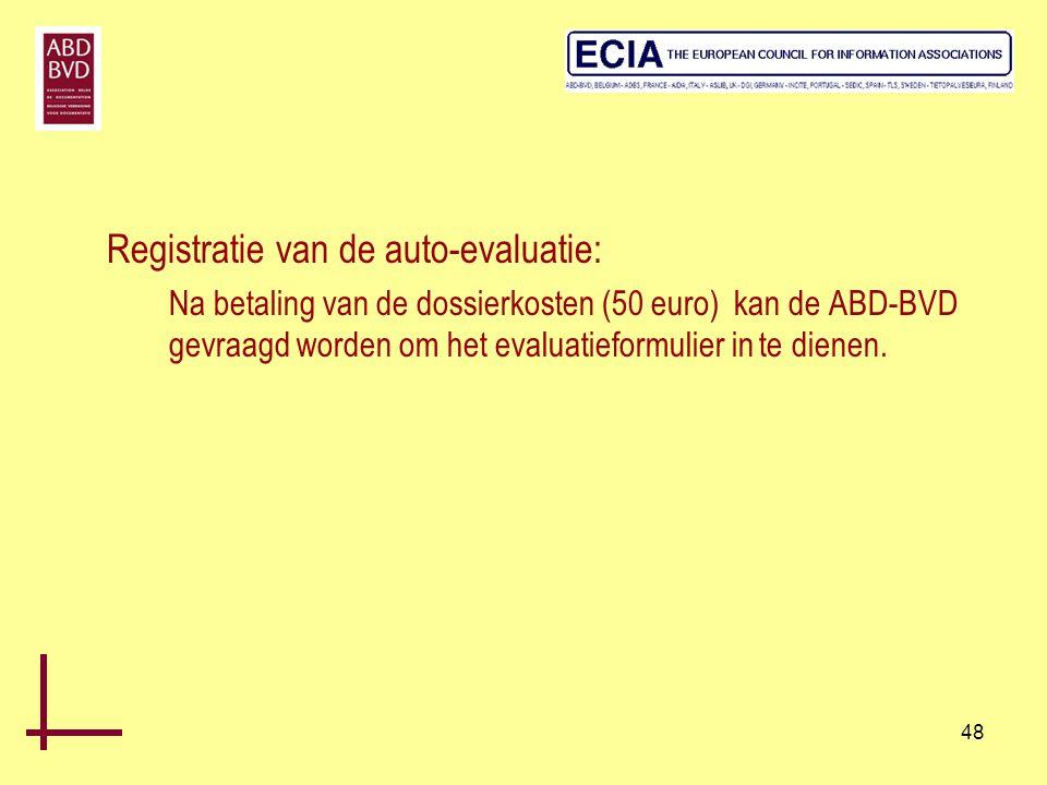 Registratie van de auto-evaluatie: