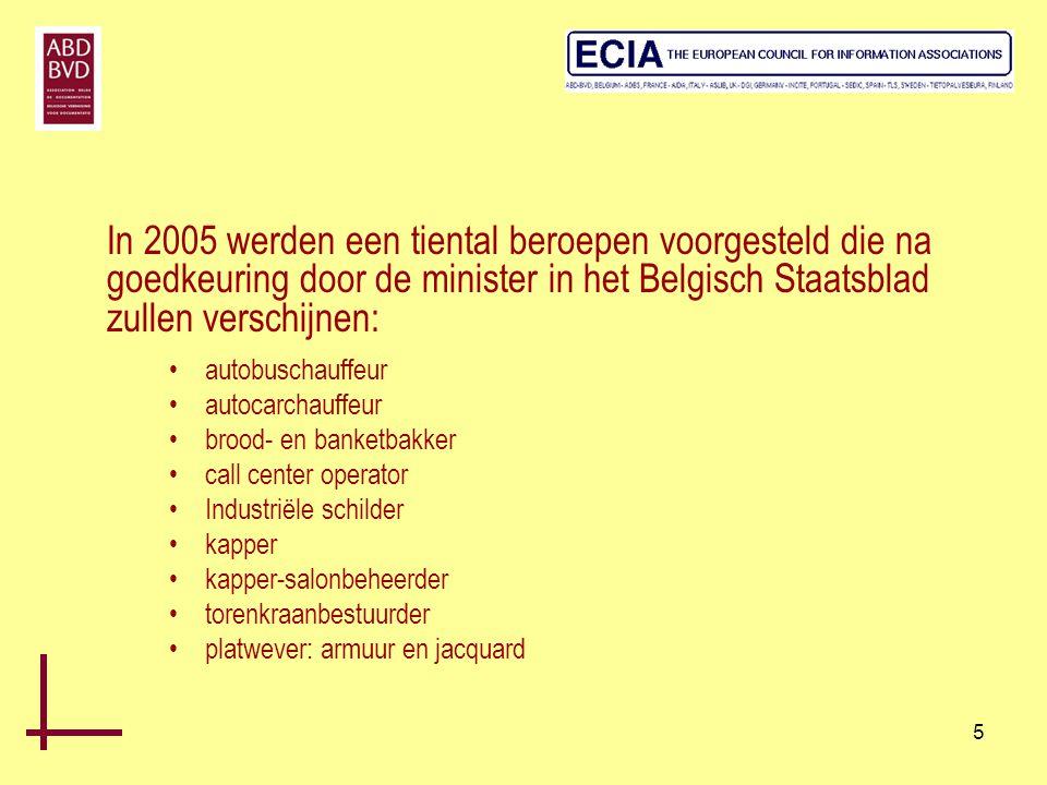 In 2005 werden een tiental beroepen voorgesteld die na goedkeuring door de minister in het Belgisch Staatsblad zullen verschijnen: