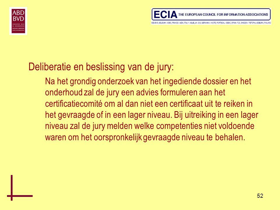 Deliberatie en beslissing van de jury: