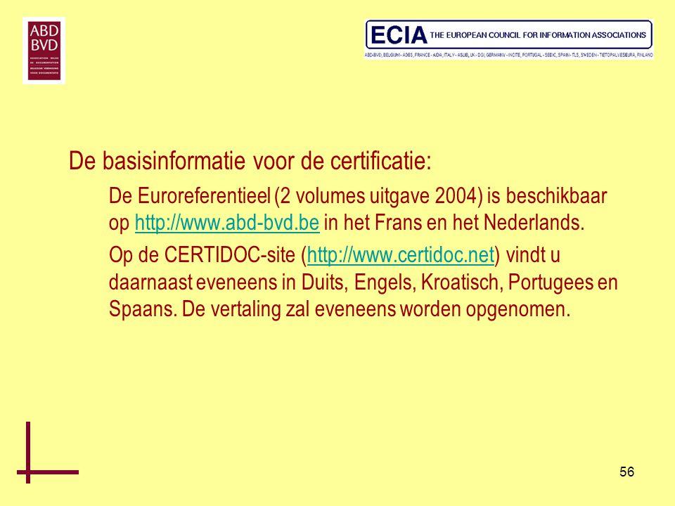 De basisinformatie voor de certificatie:
