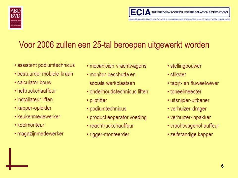 Voor 2006 zullen een 25-tal beroepen uitgewerkt worden
