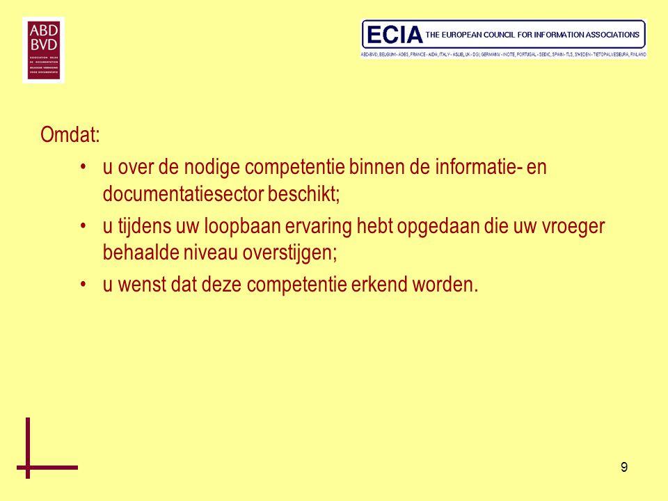 Omdat: u over de nodige competentie binnen de informatie- en documentatiesector beschikt;