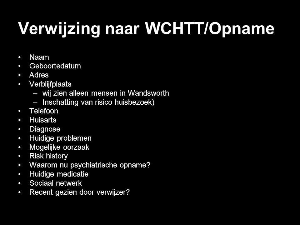 Verwijzing naar WCHTT/Opname