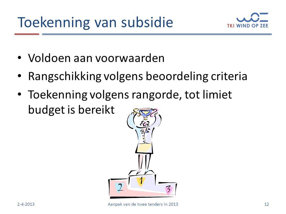 Toekenning van subsidie