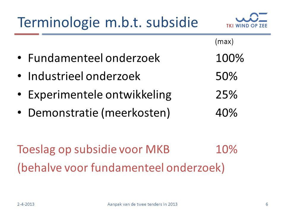Terminologie m.b.t. subsidie