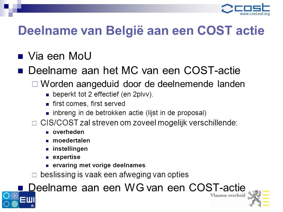 Deelname van België aan een COST actie