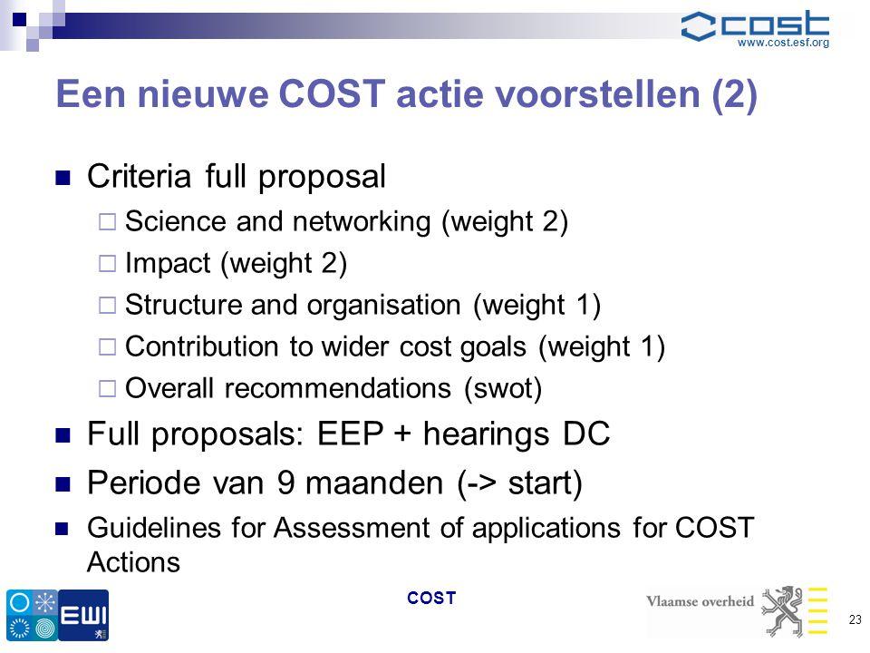 Een nieuwe COST actie voorstellen (2)
