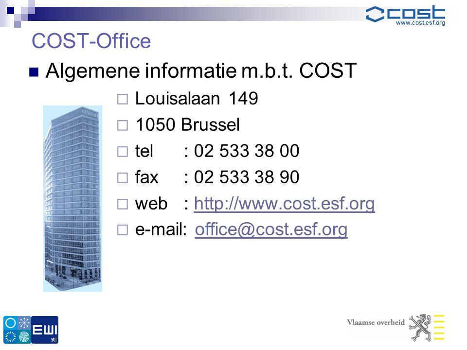 Algemene informatie m.b.t. COST