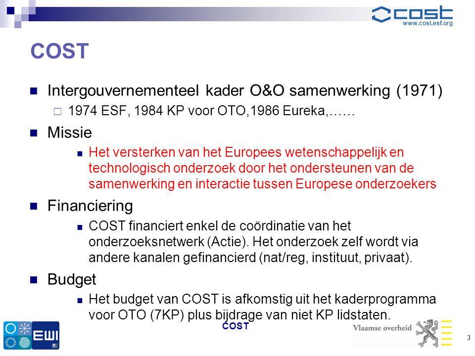 COST Intergouvernementeel kader O&O samenwerking (1971) Missie