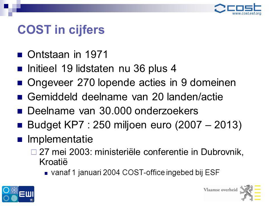 COST in cijfers Ontstaan in 1971 Initieel 19 lidstaten nu 36 plus 4