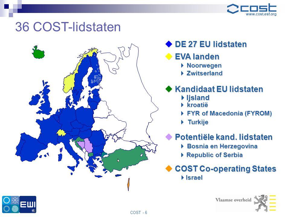 36 COST-lidstaten  DE 27 EU lidstaten