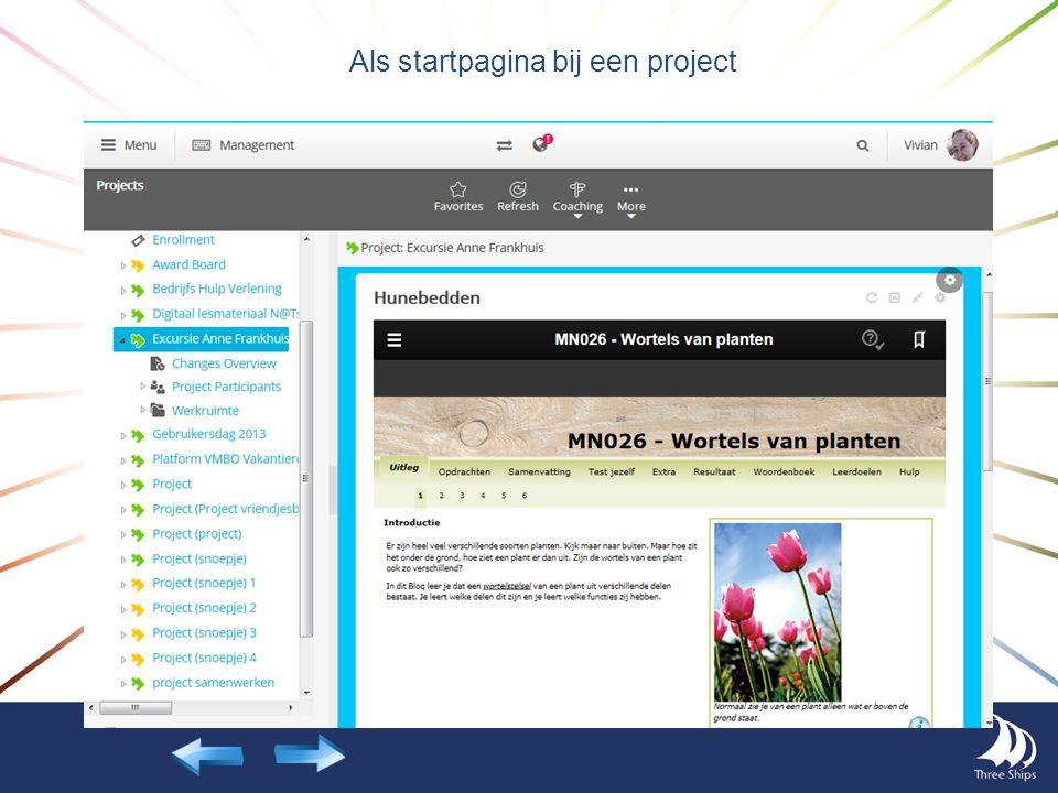 Als startpagina bij een project