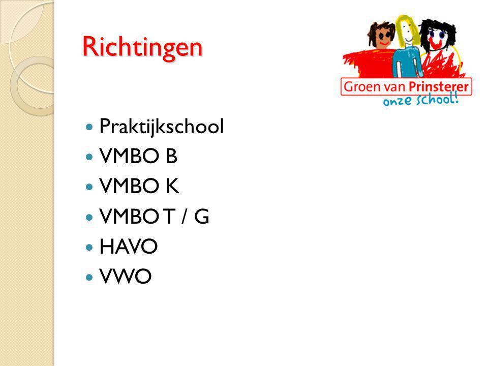 Richtingen Praktijkschool VMBO B VMBO K VMBO T / G HAVO VWO