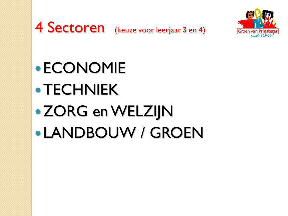 4 Sectoren (keuze voor leerjaar 3 en 4)