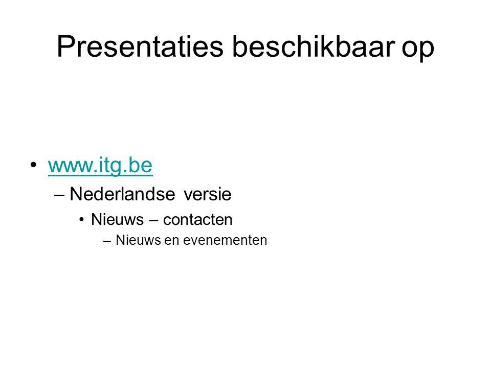 Presentaties beschikbaar op