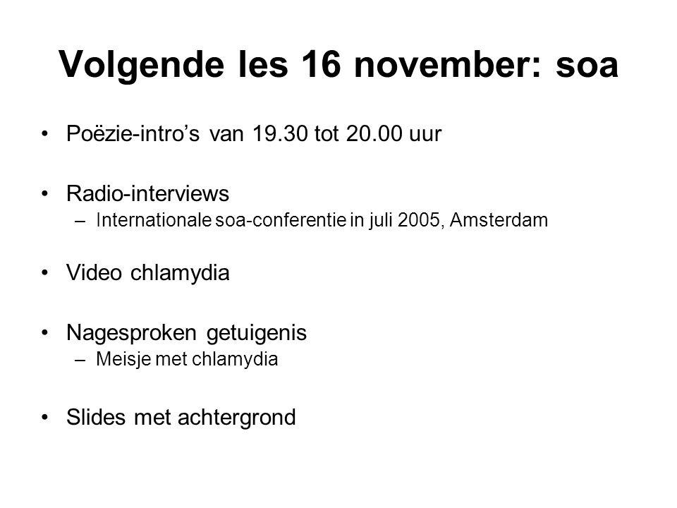 Volgende les 16 november: soa