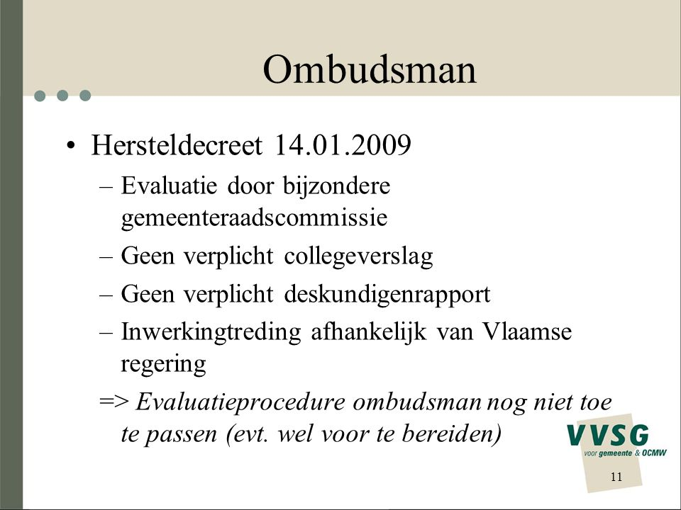 Ombudsman Hersteldecreet 14.01.2009