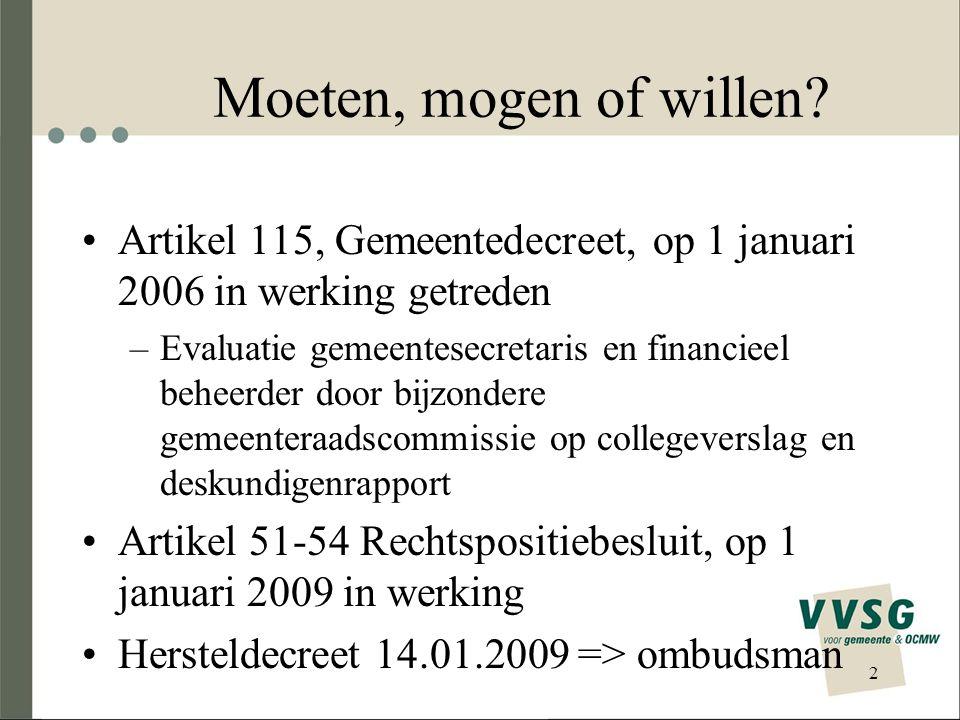 Moeten, mogen of willen Artikel 115, Gemeentedecreet, op 1 januari 2006 in werking getreden.