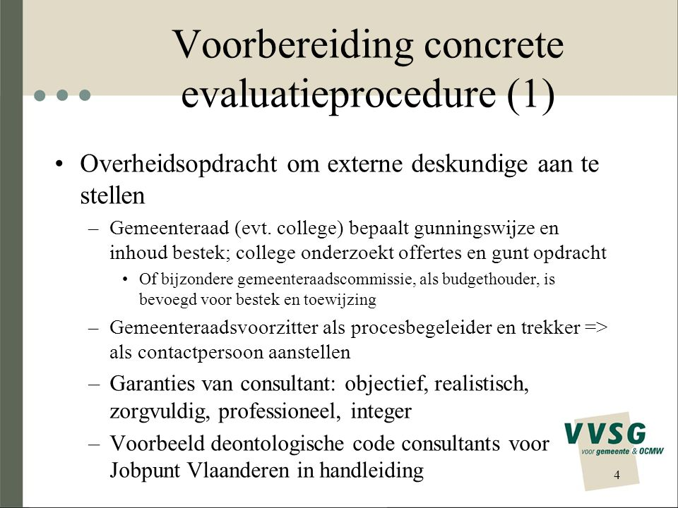 Voorbereiding concrete evaluatieprocedure (1)