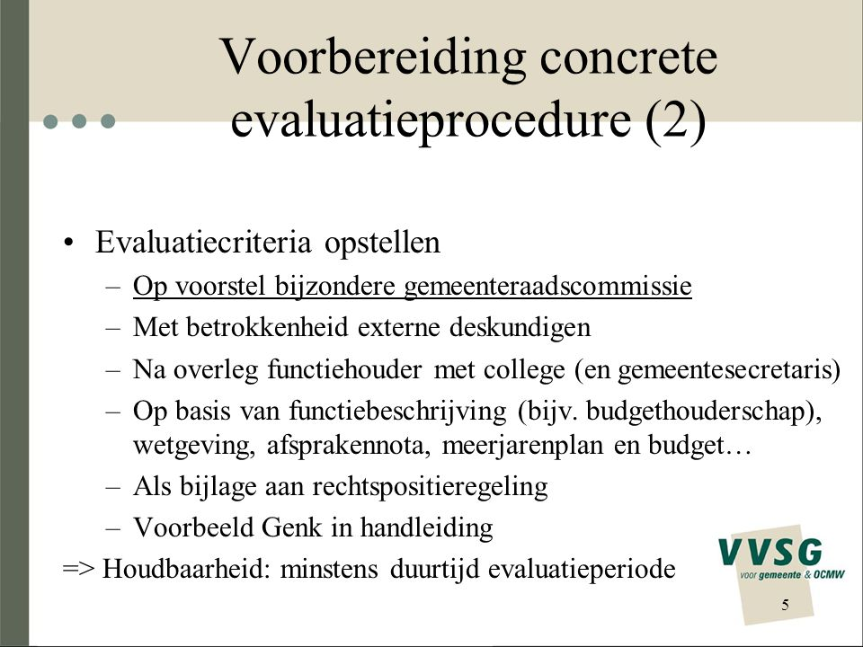 Voorbereiding concrete evaluatieprocedure (2)