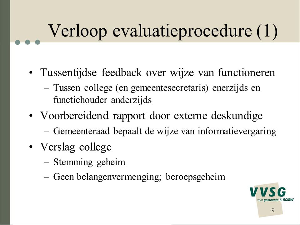 Verloop evaluatieprocedure (1)