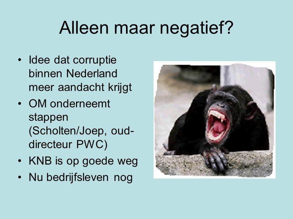 Alleen maar negatief Idee dat corruptie binnen Nederland meer aandacht krijgt. OM onderneemt stappen (Scholten/Joep, oud-directeur PWC)