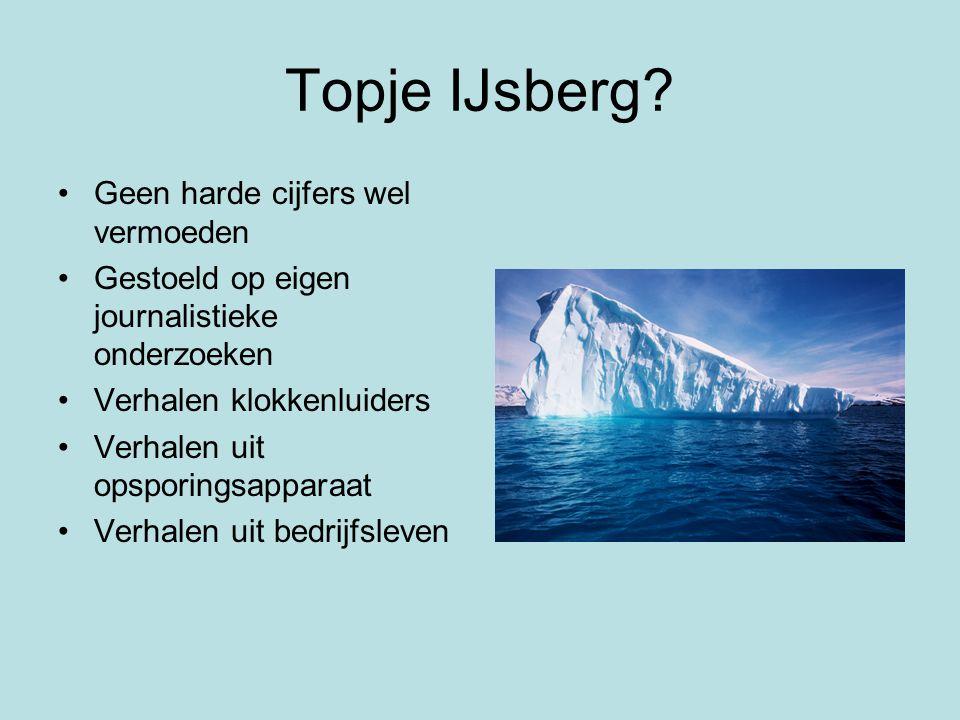Topje IJsberg Geen harde cijfers wel vermoeden