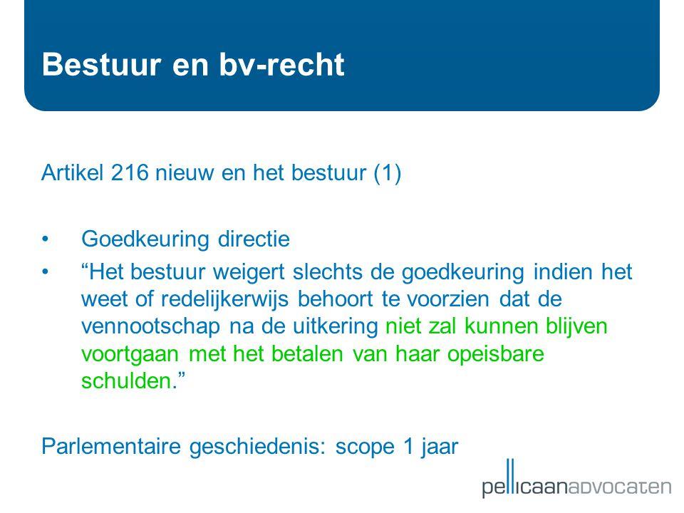 Bestuur en bv-recht Artikel 216 nieuw en het bestuur (1)