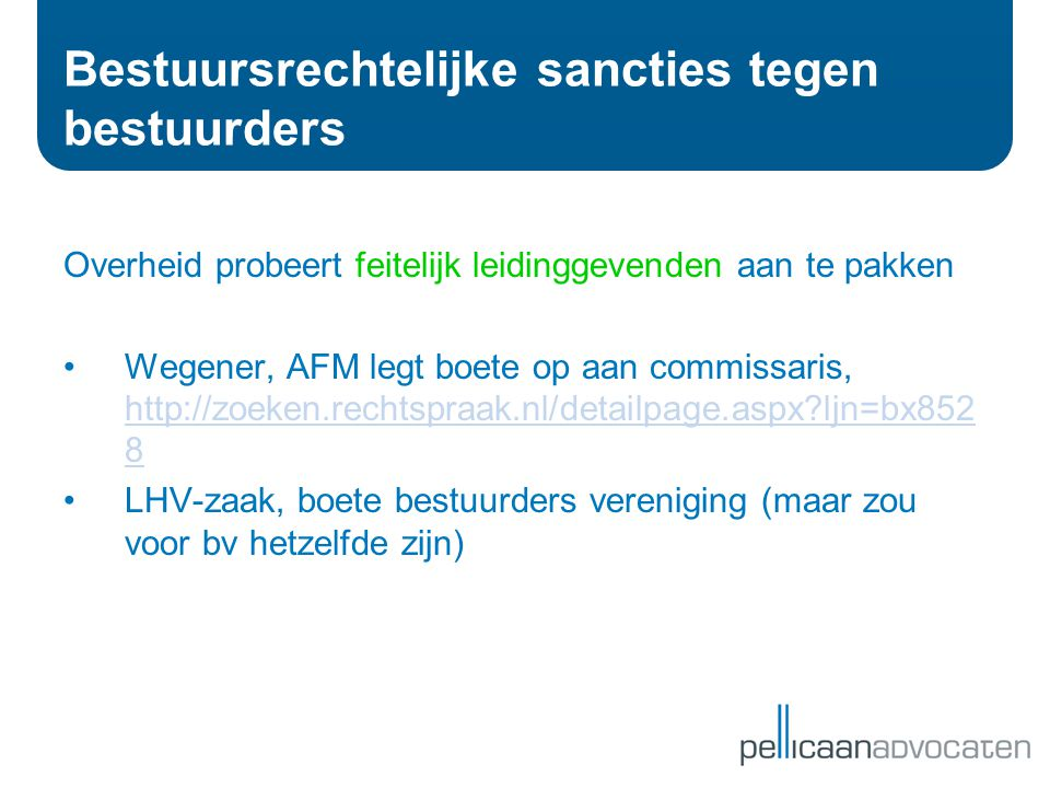Bestuursrechtelijke sancties tegen bestuurders