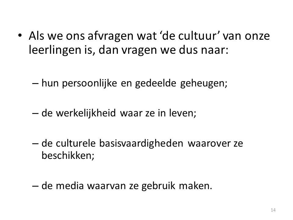 Als we ons afvragen wat 'de cultuur' van onze leerlingen is, dan vragen we dus naar: