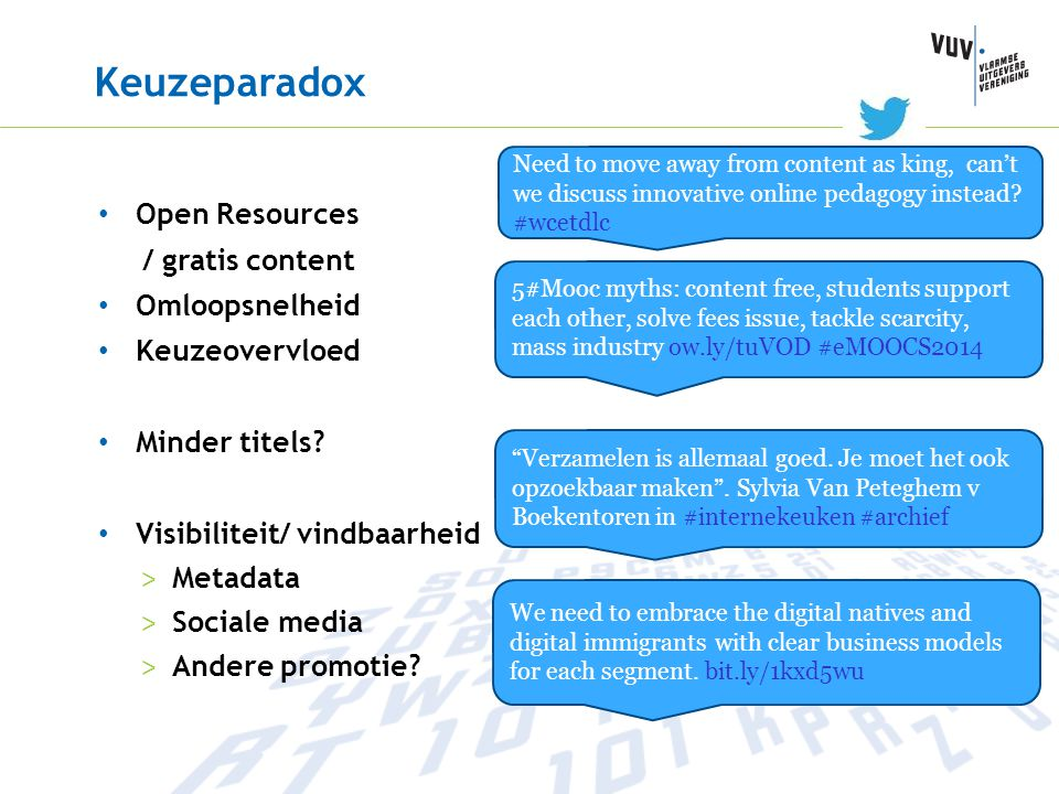 Keuzeparadox Open Resources / gratis content Omloopsnelheid