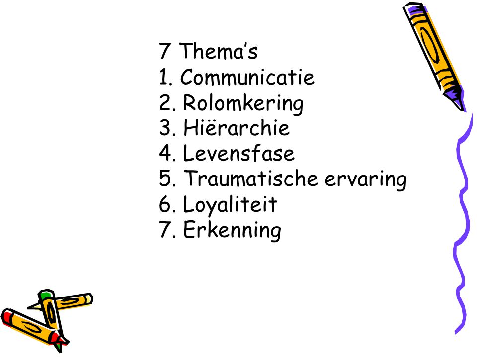 7 Thema's. 1. Communicatie. 2. Rolomkering. 3. Hiërarchie. 4