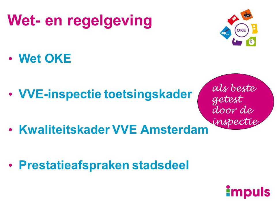 Wet- en regelgeving Wet OKE VVE-inspectie toetsingskader