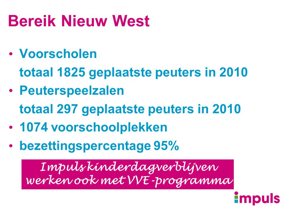 Impuls kinderdagverblijven werken ook met VVE-programma