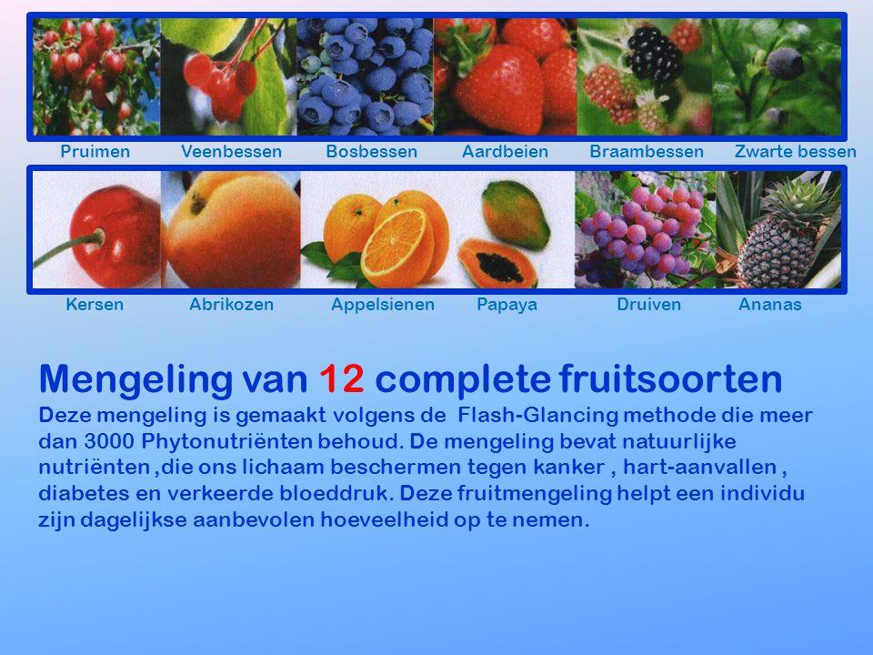 Mengeling van 12 complete fruitsoorten