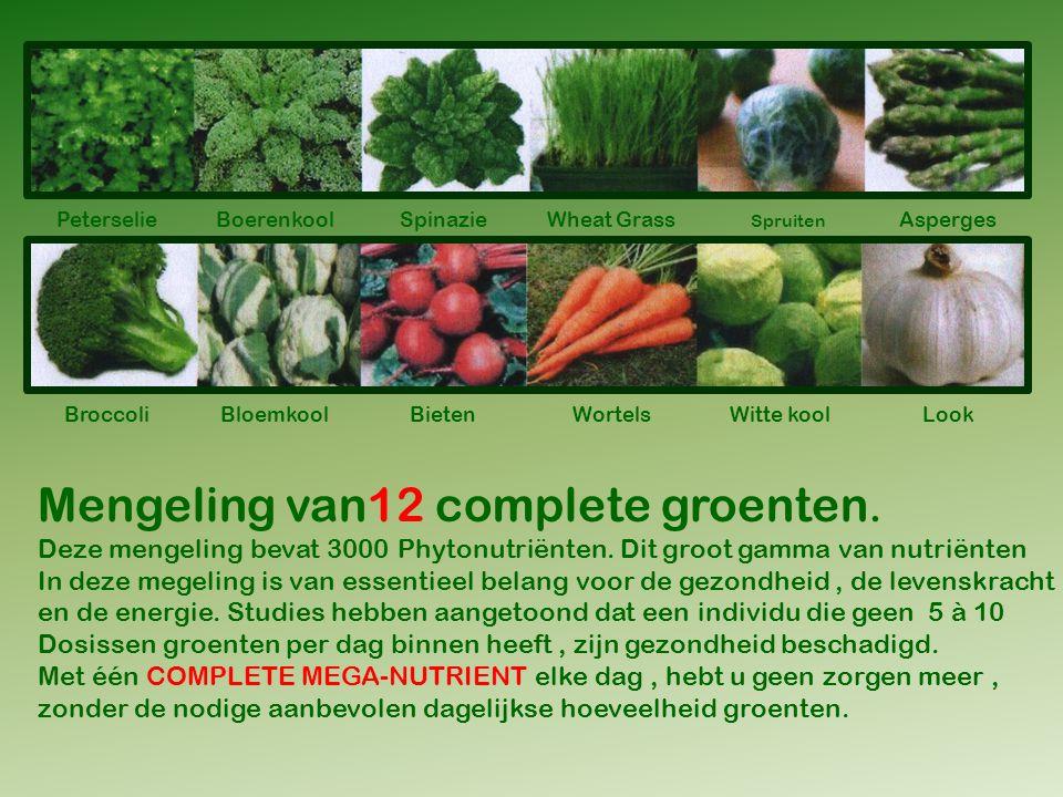 Mengeling van12 complete groenten.