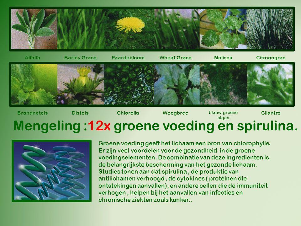 Mengeling :12x groene voeding en spirulina.