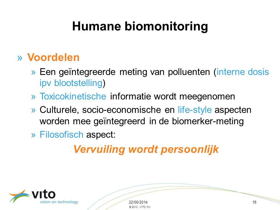 Humane biomonitoring Voordelen Vervuiling wordt persoonlijk