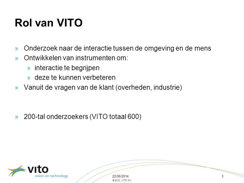 Rol van VITO Onderzoek naar de interactie tussen de omgeving en de mens. Ontwikkelen van instrumenten om: