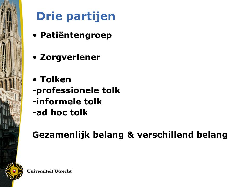Drie partijen Patiëntengroep Zorgverlener Tolken -professionele tolk