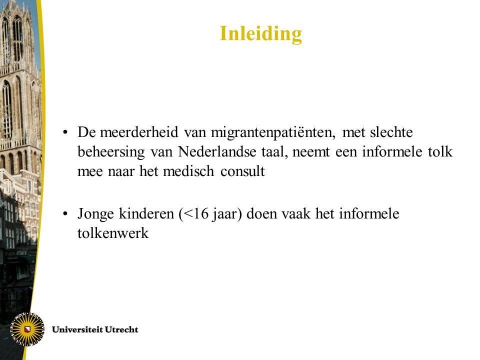 Inleiding De meerderheid van migrantenpatiënten, met slechte beheersing van Nederlandse taal, neemt een informele tolk mee naar het medisch consult.